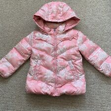 Girls John Galliano Peach Gazette Print Winter Jacket. 18 Months.