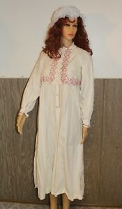 VICTORIAN LONG EMBROIDERED NIGHTGOWN PJ's Night BEFORE CHRISTMAS RED & WHITE