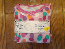 NWT GIRLS 2-PIECE THERMAL UNDERWEAR SET PINK WITH CIRCLES TOTAL GIRL LARGE 10-12