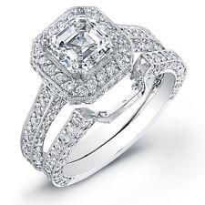 2.63 Ct. Asscher Cut Diamond Engagement Ring Set I,VS1 GIA