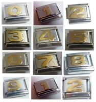 9mm Italian Charm CHOICE of GOLD NUMBERS fits ALL Starter Bracelets Age Birthday