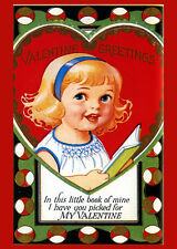 Vintage Valentine Postcard Poster Reproduction Greetings Girl Book My 14x18 New
