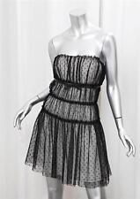 DOLCE & GABBANA Womens Black+White Sheer Polka-Dot Sleeveless Dress 46/10 NEW