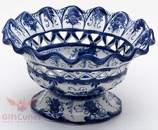 Gzhel Porcelain candy fruits vase dish bowl basket Hand-painted