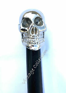 HUMAN SKULL HANDLE WOODEN WALKING STICK CANE BRASS HANDLE SILVER BRASS FINISH