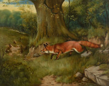 Wheeler Alfred John Fox Hunting Rabbits Print 11 x 14   #3613