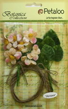 Blush Velvet Fabric 12 Mini Blossoms 25mm & 12 Leaves 25x30mm Jute Tie Petaloo
