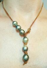 South Sea Tahitian black grey baroque big Pearl brown leather necklace lariat