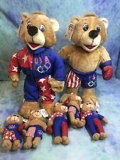 """(7) Ace Novelty 1995 Usa Olympic Team Teddy Bears W/Tag 11 1/2"""" Tall Assorted Sz"""