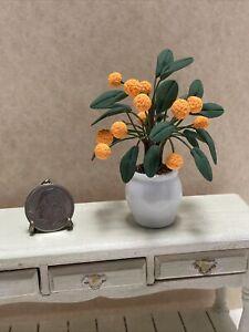 Dollhouse Miniature Artisan Dwarf Orange Tree in Porcelain Pot EUC 1:12
