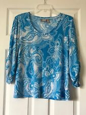 """chicos printed tops size 2, Blue White, 24"""" Long, Chest 22"""", Stretchy."""