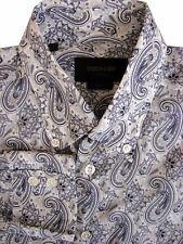 DUCHAMP LONDON Shirt Mens 15 S Grey - Paisley SLIM FIT - LIGHTWEIGHT