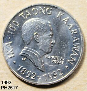 PHILIPPINES 2 Pisos 1992 ROXAS uncirculated FREE SHIPPING IN UNITED STATES