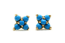 9ct Gold Turquoise Cluster studs Earrings Gift Boxed Made in UK