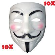 Lot De 10 Masques Blanc V Pour Vendetta, Anonymous, Guy Fawkes Déguisement