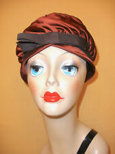 1940's Brown Satin Evening Hat w/ Ruched Sides & Grosgrain Ribbon Bow Accent