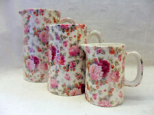 Strawberry Rose set of 3 jugs by Heron Cross Pottery