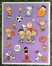 Vtg Hallmark PEANUTS sticker Sheet~SNOOPY~Sports~Baseball~Football~Basketball