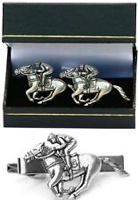 Horse Racing Cufflinks & Tie Clip Bar Slide Tack Mens Set Festival Accesory Gift
