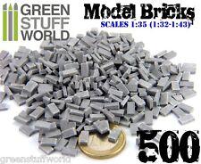 500x Ladrillos Cerámicos GRISES - Escala 1/35 (1/32-1/43)  Modelismo Miniaturas