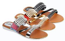 Damenschuhe Damen Sandalen Sandaletten mit Strassstaeine Schlappen A01