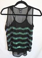 RUE 21 women's Sequin Tank Top Racerback Sheer Black Shirt Size S