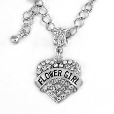 Flower Girl Necklace Flower Girl Crystal Heart Flower Girl Charm Flower Necklace