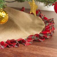 CHRISTMAS TREE SKIRT RED gingham Tartan frill red green gold burlap look 90cm