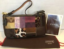 Coach Legacy Holiday Patchwork Brown Suede Leather Purse Handbag Wristlet 7071