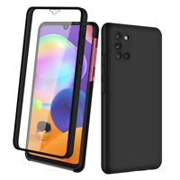 SDTEK Case for Samsung Galaxy A31 Full 360 Cover Front and Black Hard Back