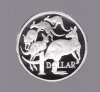 1990 Sterling SILVER Proof $1 dollar Kangaroo roos Coin Australia