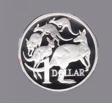 1990 Sterling SILVER Proof $1 dollar Kangaroo roos Coin Australia -