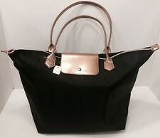BATH & BODY WORKS LARGE BLACK & GOLD TOTE WITH ZIP CLOSURE NEW!