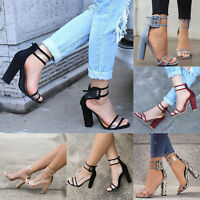 Womens Block High Heels Buckle Ankle Strap Open Toe Sandals Platform Sexy Shoes