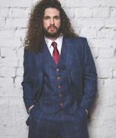 Mens Blue Wool Suits Check/Plaid Formal Vintage Classic 3 Pieces Slim Fit Suits