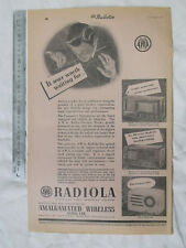 AWA Radio Radiola Full Page Advertisement removed from a 1946 Newspaper A.W.A.