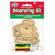 11.4cm Christmas Colour In Wood Santa Claus Hanging Tree Decoration Plus Pens