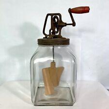 Vintage Butter Churn 2 Paddle 8 Qt Glass Jar