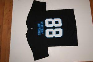 NFL Team Apparel Carolina Panthers Black T-shirt Youth L size 14-16 Olsen 88