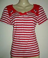 LINDY BOP NEW VINTAGE STYLE RED STRIPED EMBROIDERED BIRD TOP SIZE 10