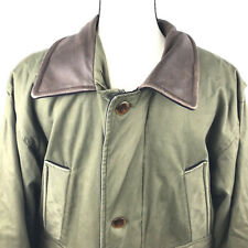 Ll Bean Military Anorak Field Jacket Mens Small Army Green Leather Collar cf