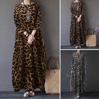 Jolie Femme Robe à imprimé léopard Casual Droit Jupe Manche Longue Maxi Plus