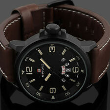 Men's Sport Date Army Military Leather Analog Quartz Waterproof Wristwatches NEW