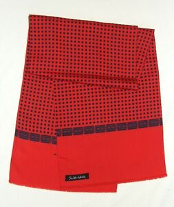 Gentleman's GEOMETRIC Black Red POLKA DOTS Double Wool Silk Fringe Long SCARF