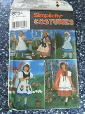 Simplicity #8234 NURSERY RHYMES Costumes Sewing Pattern Child Size 3-6