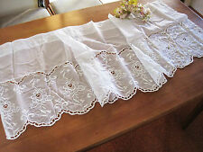 Beautiful White Rose Embroidery Cutwork Sheer Curtain Trim