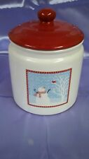 SNOWMAN COOKIE JAR WITH RED LID - DECORATION  PARTY- CHRISTMAS   - Sale