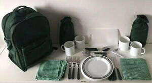 Luxury 4 Person Picnic Backpack Hamper Rucksack, Cutlery, Plates Cups Included