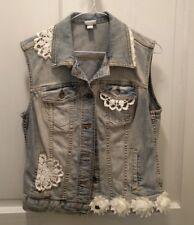 boutique handmade denim vest boho medium feminine crochet doily