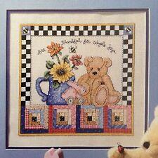 Bee Thankful counted cross stitch magazine pattern, fabric & floss lot